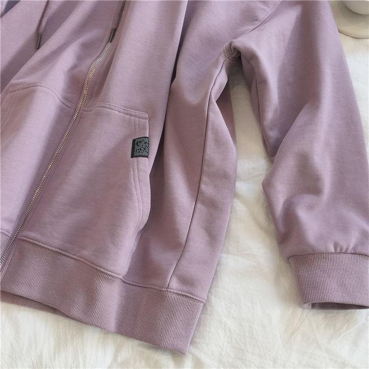 H68fc4e62d4524d53a6386f4126895b2b5 Harajuku with hat hoodies women zipper kangaroo pocket casual loose solid color sweatshirt female 2020 fashion new female s