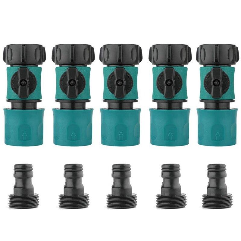3/4 zoll Garten Schlauch Beschlag Stecker Männlich und Weiblich Set mit Abschaltung Ventil Schalter (5 Sets /10 Pack)