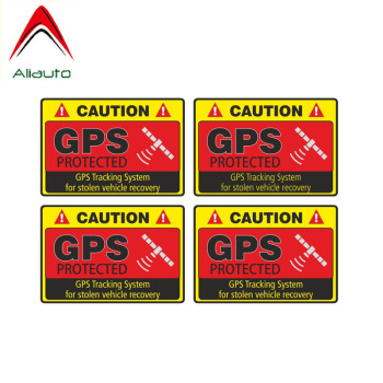 Aliauto 4 X Warning Car Sticker Caution GPS Tracking  System Protected Accessories PVC Decal for Bmw Opel Suzuki, 7cm*5cm