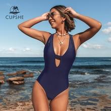 CUPSHE כהה כחול צלב מוצק מקשה אחת בגד ים נשים V העמוק צוואר ללא משענת סקסי Monokini 2020 X חזרה רחצה חליפת בגדי ים