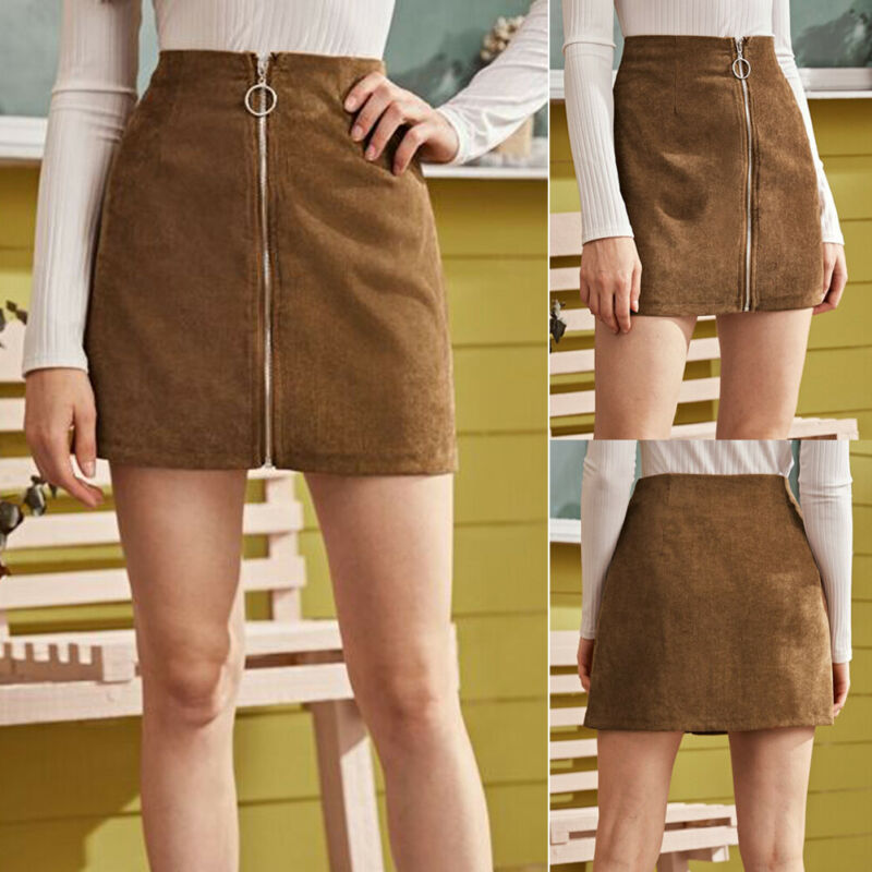 2020 New Women's Fashion Skirts A Line High Waisted Pencil Skirt Casual Solid Bodycon Button Short Mini Skirts