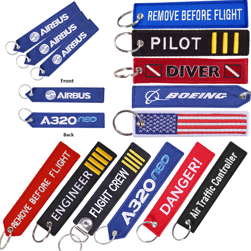 BOEING Keychain llavero Gifts for Motorcycle Car Embroider Key Ring Aviation Tag Fobs Customized Keychains