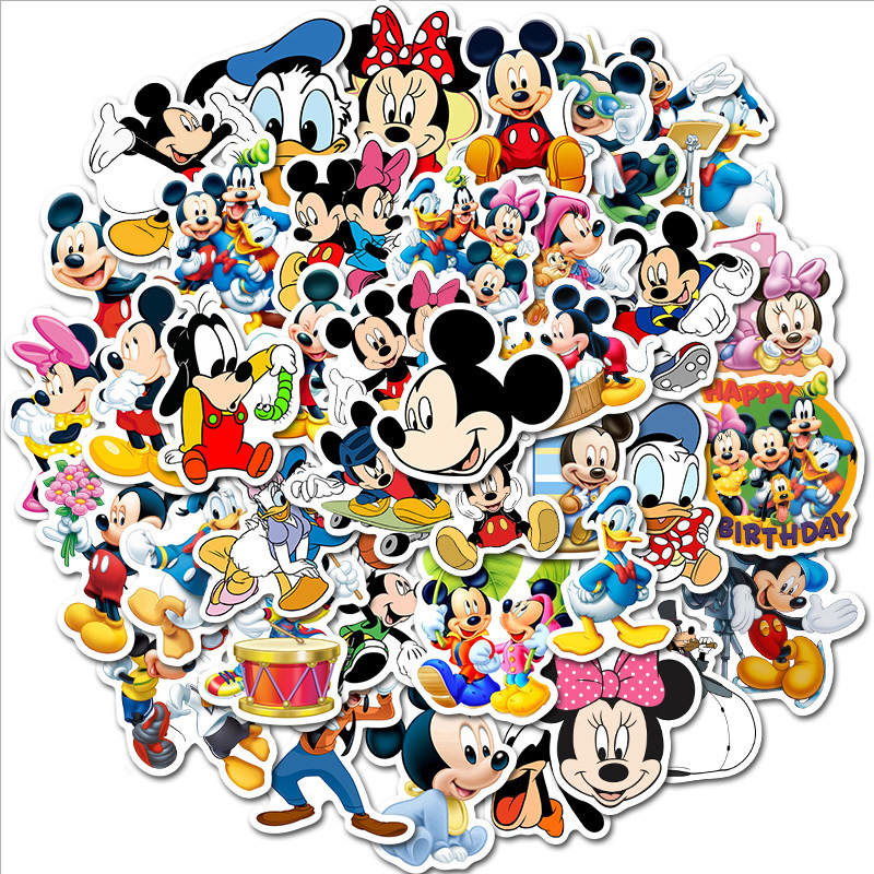 50 Pcs Mickey Minnie Cartoon Sticker Cute Skateboard Stickers Anime Stickers Toys For Children Boys StickersTZ157G