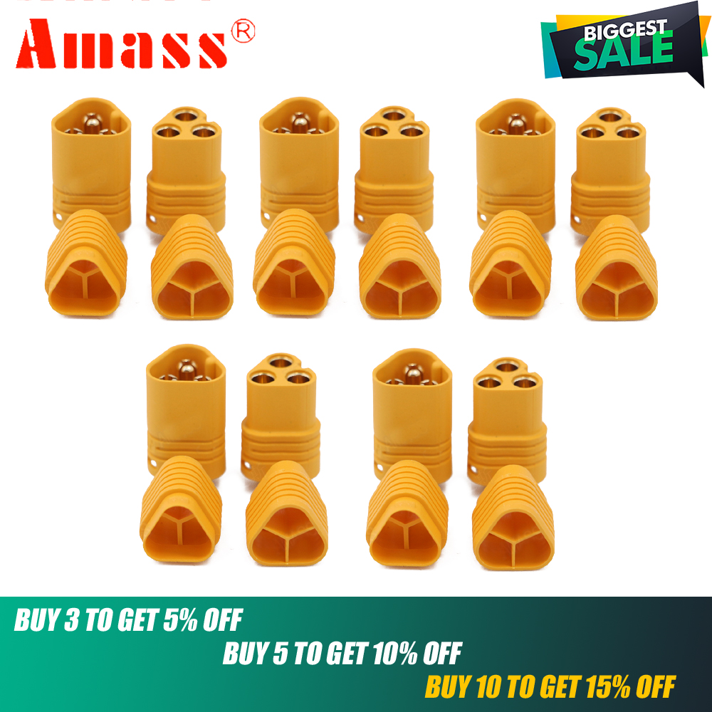 MT60 Connector,AMASS MT60 3.5mm 3-pole Bullet Connector Plug Set For RC ESC And Motor