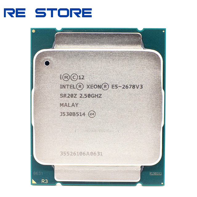 משמש Intel Xeon E5 2678 V3 מעבד 2.5G לשרת LGA 2011 3 2678V3 מחשב שולחני מעבד עבור X99 האם