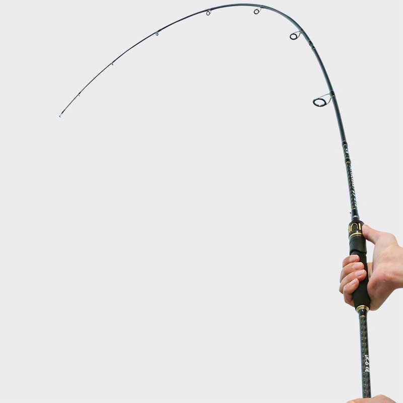 Caña de pescar giratoria de carbono con 2 puntas M y MH 1,98 m 2,13 m varilla de lanzamiento de cebo de acción rápida peso ligero 7-30g prueba