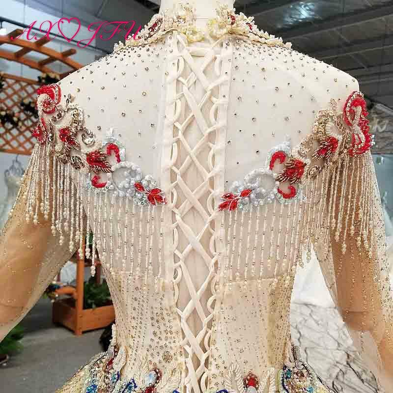 Image 5 - AXJFU роскошное платье принцессы с бусинами и красным цветком, Золотое кружевное платье с высоким воротом и длинным рукавом, свадебное платье для невесты 4041Свадебные платья    АлиЭкспресс