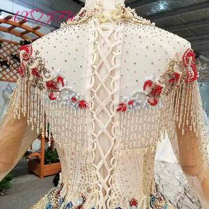 Image 5 - AXJFU יוקרה נסיכה ואגלי קריסטל אדום פרח זהב תחרה גבוהה צוואר ארוך שרוול אשליה הכלה זהב חתונה שמלת 4041