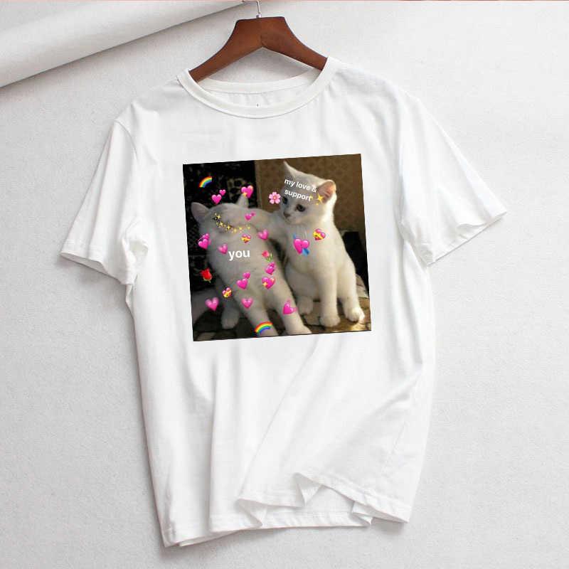 เกาหลี Ulzzang แมวผู้หญิง T เสื้อพิมพ์เสื้อ O-คอ Tops Tees ฤดูร้อนหญิงเสื้อยืดแฟชั่นสุภาพสตรีเสื้อยืดตลก