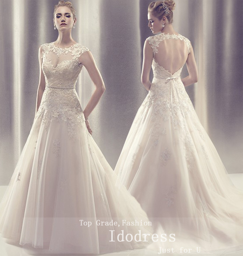 Charming Open Back Wedding Dresses A Line Robe De Mariee Sweetheart Applique Beads Sash Sweep Train Bridal Gowns 2019
