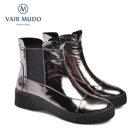 VAIR MUDO 2019 New Brand Ankle Boots Winter Wedges Heel Fire Metallic Leather Booties Large Size 33 41Women Boots Shoes DX97