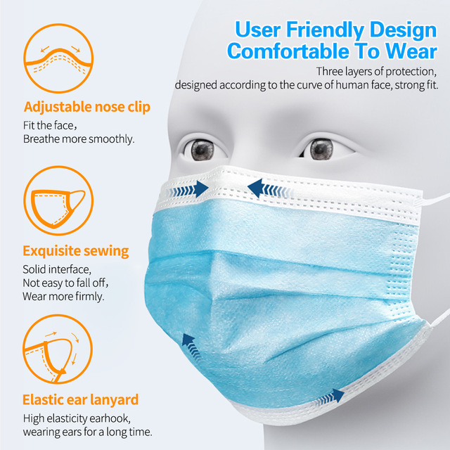 3 Layers Filter Disposable Surgical Mask Non-woven Safety Medical Face Mask Anti-pollution Flu Protection Mouth Nose 3