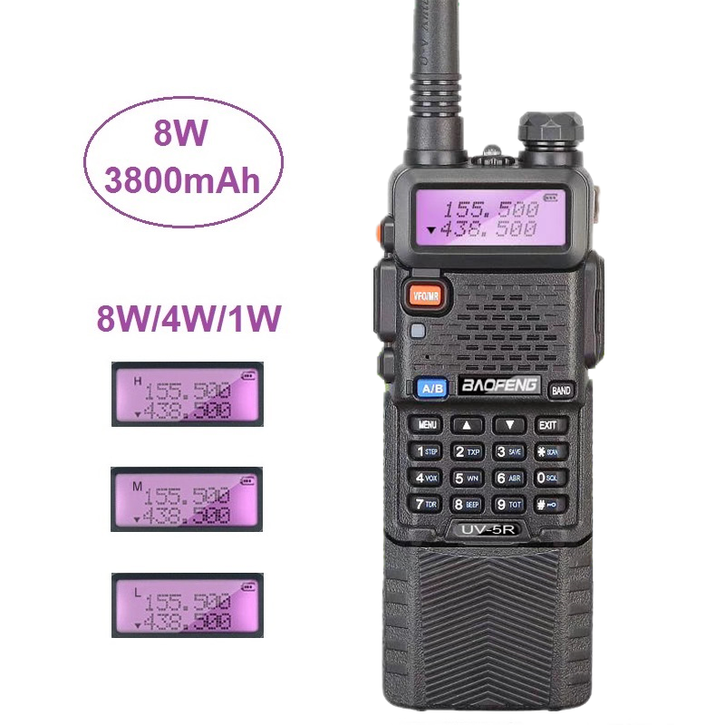 1/2/3PCS Baofeng UV-5R 8W Walkie Talkie 10KM UHF VHF 3800mAh Portable CB Radio HF Transceiver Support USB Charging Baofeng 10W