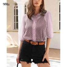 Sexy Women Mesh Polka Dots Blouse See Through Shirts Retro Transparent Blouses Top Summer New Office Lady Blouse White 2020 tops