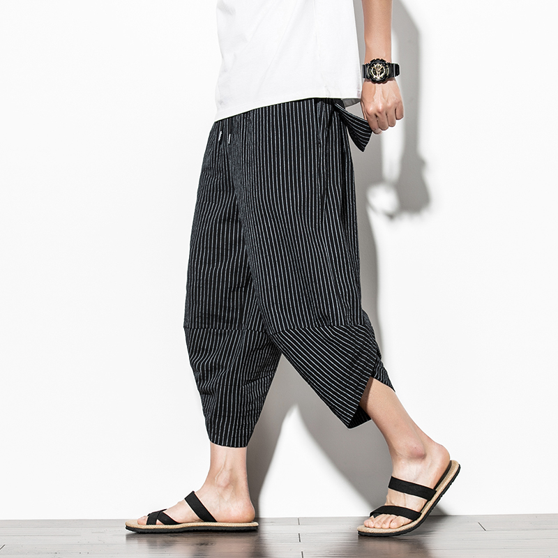 Men Traditional Style 2020 Summer Big size Casual Calf-Length Pants Korean Style Striped Loose Hip Hop Streetwear Male Trouser