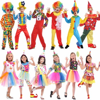 halloween clown costume clothing for children classic cosplay suit set for kids boys kids christmas stage performance wear Umorden Purim Carnival Halloween Clown Costumes Kids Children Circus Clown Costume Girls Fantasia Infantil Cosplay for Boys