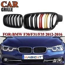 цена на MagicKit Car Racing Grills Gloss Black Front Kidney Grilles For BMW F30 F31 F35 320i 328i 335i 2012 2013 2014 2015 2016 2017