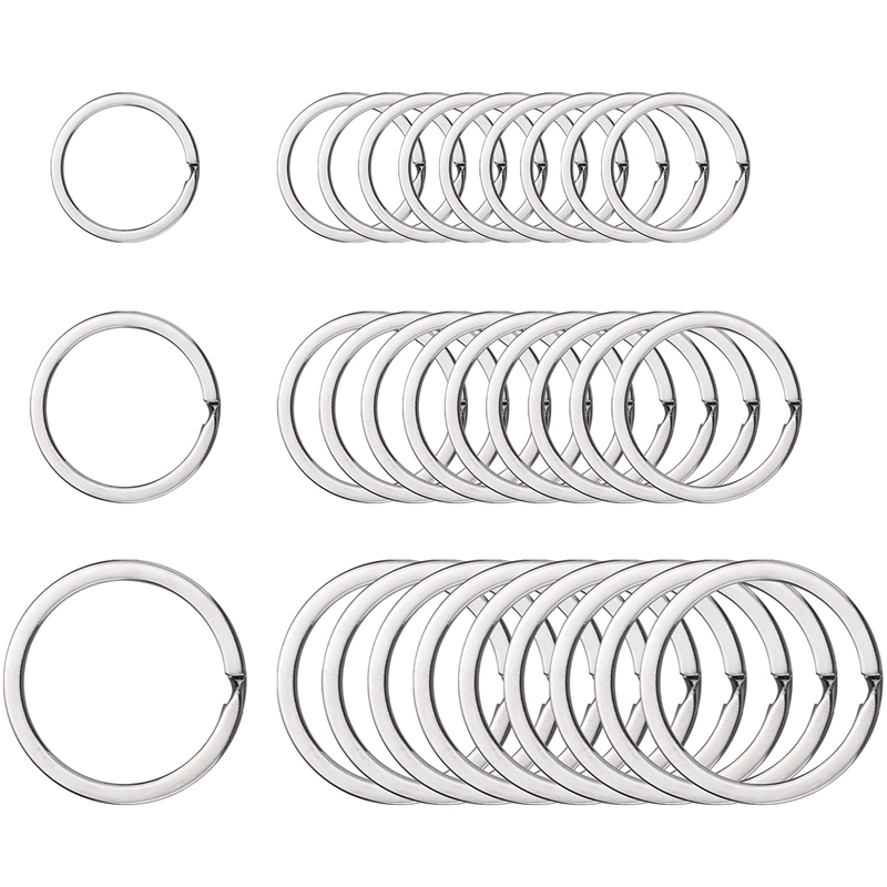 10pcs/lot Stainless Steel Key Chain Key Ring Round Flat Line key ring Keyrings Keychain Key Holder for Jewelry Making Wholesale