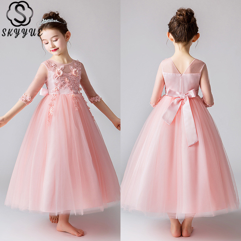 Skyyue Solid Tank Tulle   Flower     Girl     Dress   for Wedding   Flower   Ball Gown Lace Kid Long Party Communion   Dress   Princess 2019 CK2918