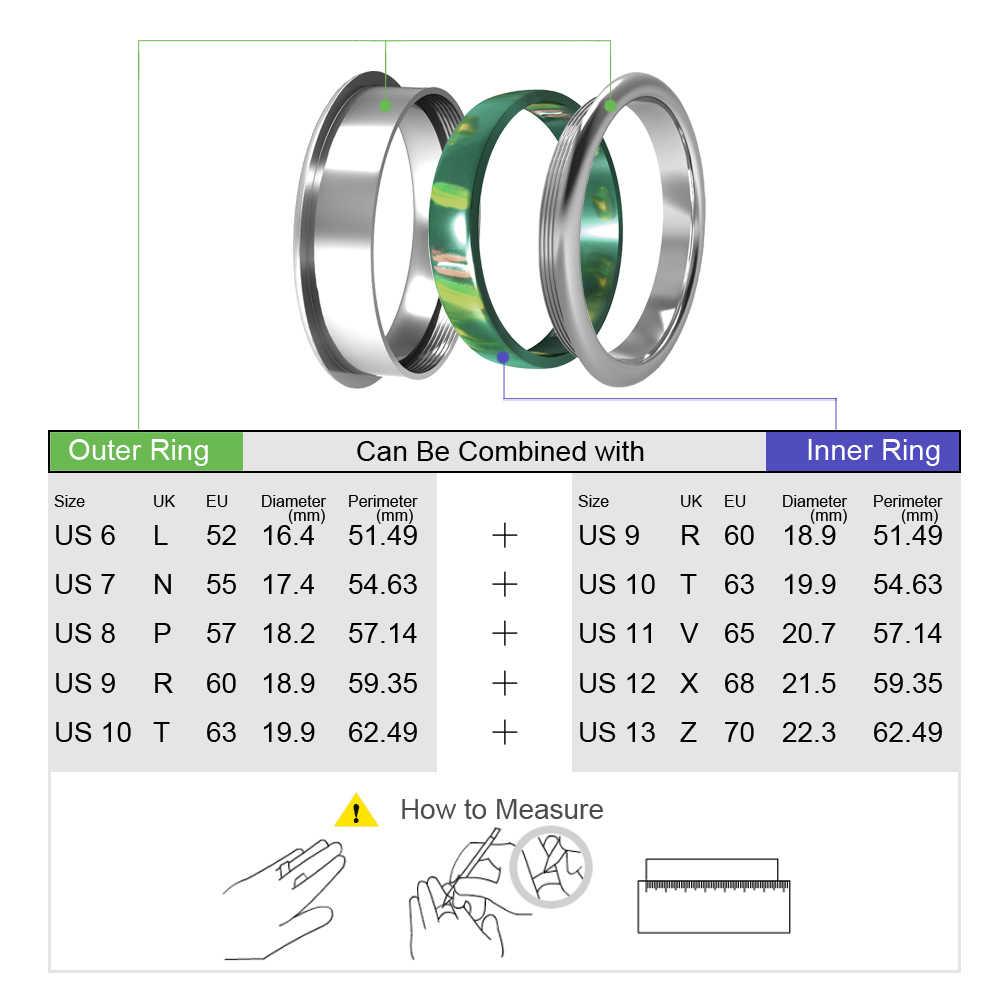 Floya Boho STACKABLE แหวนสแตนเลส Femme Argent แหวนผู้หญิงเรซิ่นเปลี่ยนได้จัดส่งฟรี