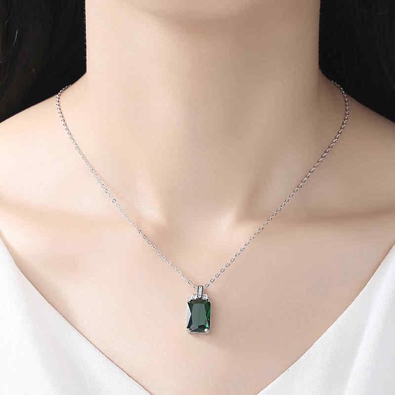 ירוק כיכר זירקון גבירותיי שרשרת קריסטל זכוכית אמרלד תכשיטי קסם תכשיטים שרשרת גבירותיי אירוסין מסיבת מתנה