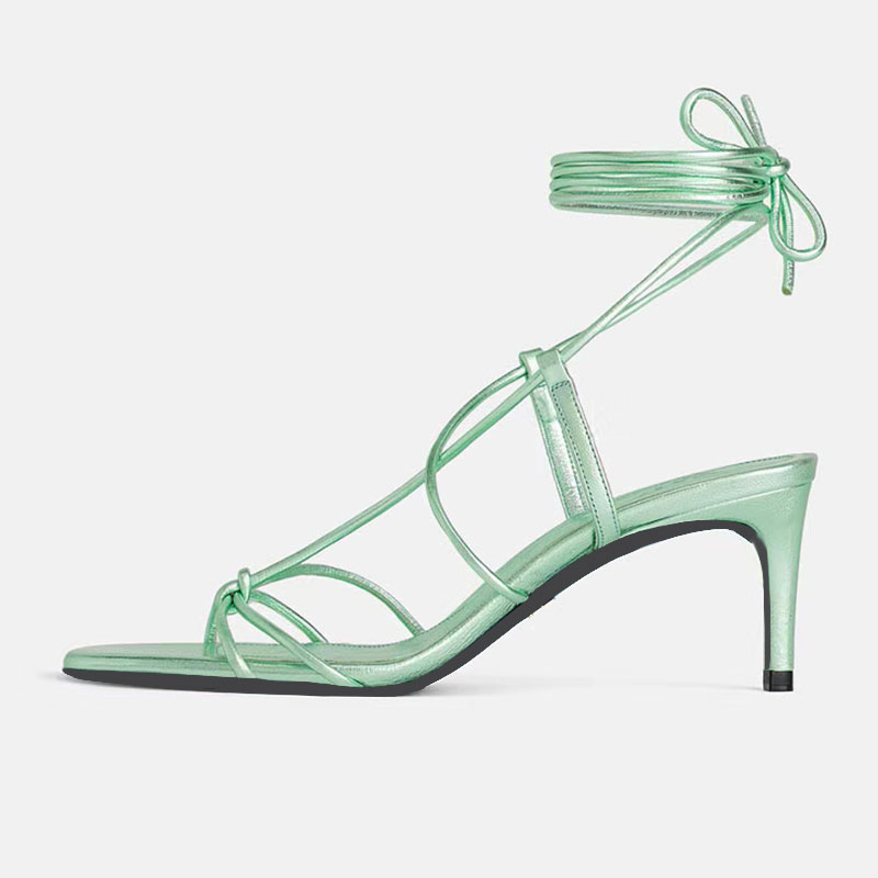 GENSHUO Fashion Women Sandals Lace Up Sandal Ankle Strappy Summer Shoes Gladiator Casual Sandal Narrow Band Zapatos Mujer Shoe