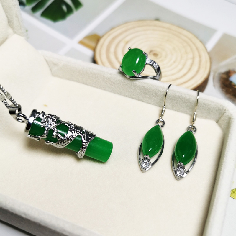 Real Silver Dragon Necklace 925 Silver Jewelry Sets CZ Green Jade Earrings/Ring For Women Ethnic Vintage Fine Jewelry New