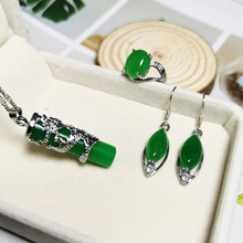Jadery Real Silver Dragon Necklace 925 Silver Jewelry Sets CZ Green Jade Earrings/Ring For Women Ethnic Vintage Fine Jewelry New