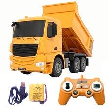 2,4G RC автомобили самосвал игрушки для детей мальчиков рождественские день рождения подарки желтый цвет RC инженерный грузовик модель Мальчиков пляжные игрушки