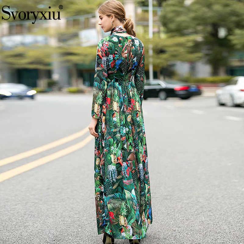 Svoryxiu 2020 Mới Mùa Xuân Hè Đường Băng Hoạt Hình Thế Giới Động Vật ĐầM Maxi Ren Nữ Bohemia Voan Ngày Lễ Áo Dài