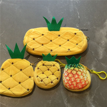 Plush-Purse Keychain 3sizes-Pineapple And with Coin-Bag 8cm 10cm 20cm