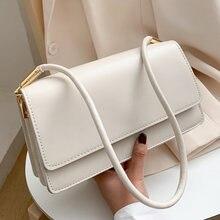 Bolsa de ombro de couro macio do plutônio baguette para as mulheres 2021 simples saco axila senhora bolsas tendência feminina cor sólida viagem mão