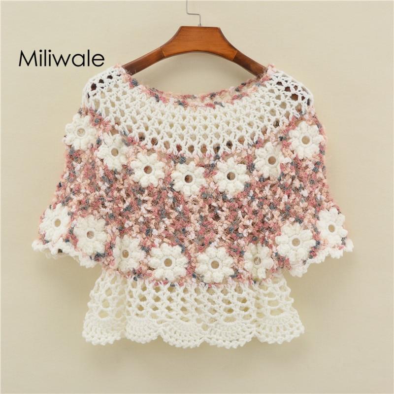 Autumn Winter Woman Sweaters Handmade Crocheted Drop Shoulder Pullover Female Sweater Slim White Short Sleeve For Women