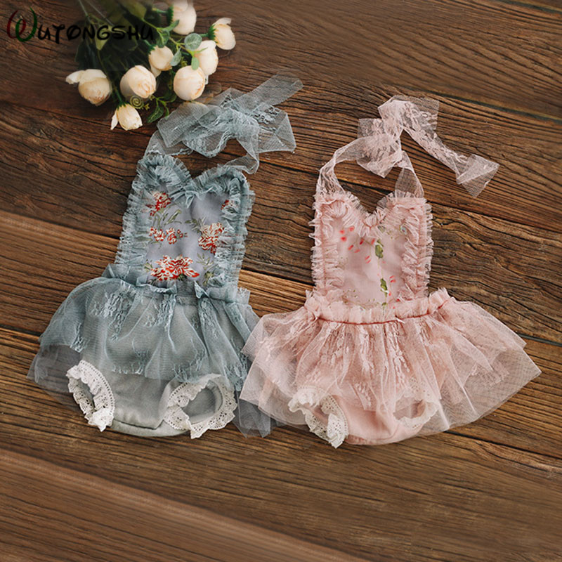 Baby Girl Princess Lace Dress Newborn Girl Clothes Studio Shooting Props 2 Pieces Baby Girl Dress + Headband Newborn Photo Props