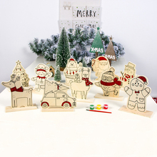 New Year Christmas Decoration DIY Wooden Hand-Painted Ornaments ChildrenS Color Painting Board With Paint Xmas Party Ornament