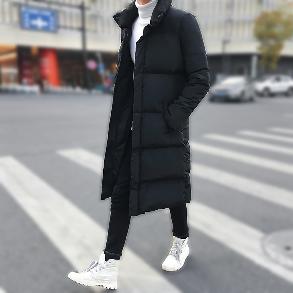 Men's Winter Mid-length Pure Color Warm Coat Thickened Hoodie Comfortable Cotton-padded Brief Jacket