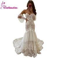 свадебное платье Mermaid Wedding Dresses 2020 Sweetheart Robe De Mariee Beach Tulle Lace Bridal Gowns Vestido De Noiva
