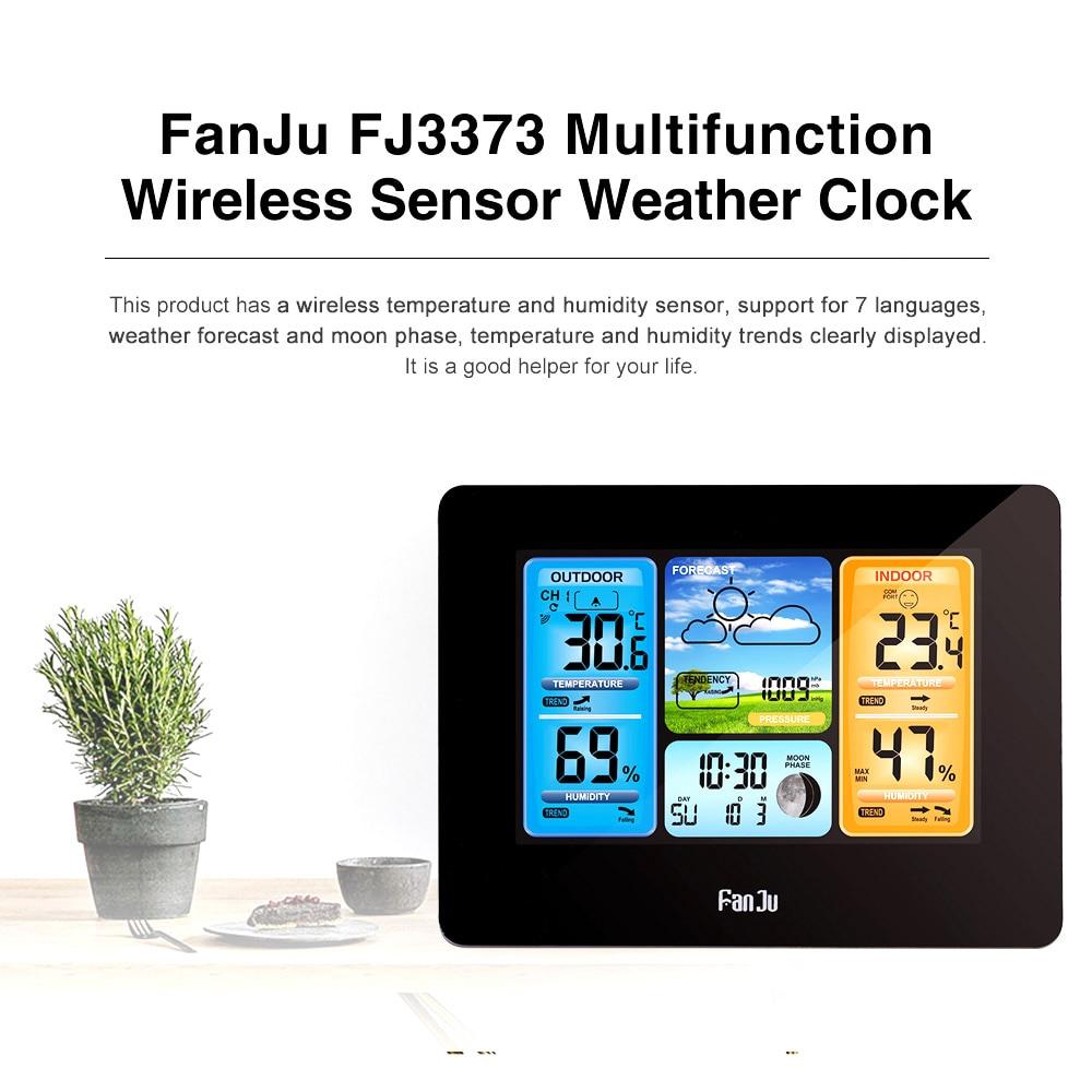 FanJu FJ3373 Professional Digital Indoor Outdoor Barometer Thermometer Hygrometer Weather Station LCD Alarm Clock