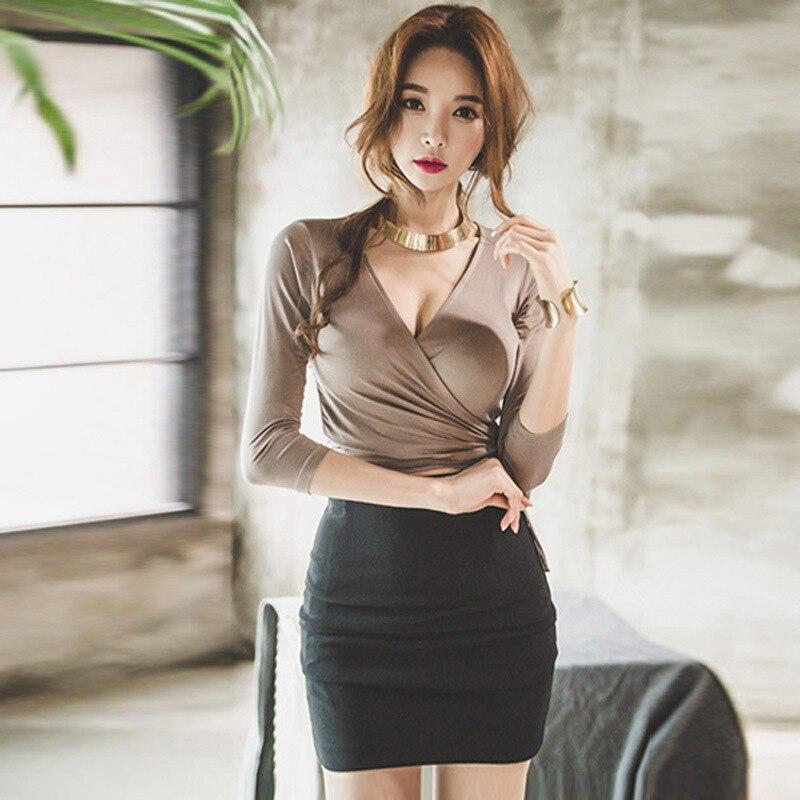 5018 Autumn Sexy WOMEN'S Dress Debutante Deep V-neck Sheath Low-Cut Slimming Slim Fit Nightclub Field Tops Base Shirt