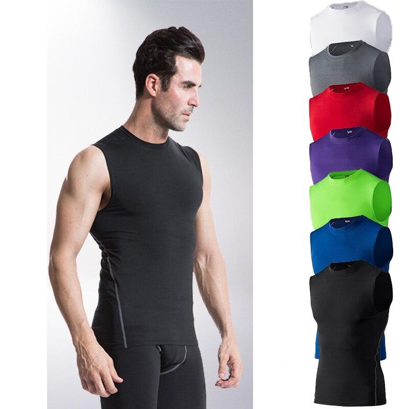 Mens Compression Slim Base Layer Color Matching Vest Quick-Dry Undershirt Tops