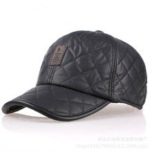 Mens winter leather baseball cap, leisure sports skin tag, thickened ear outdoor warm fashionable fashion sun hat can