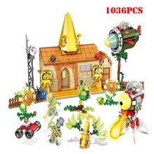 купить 1036PCS Plants VS Zombies Struck Game Mini Action Building Blocks Compatible Ninjagoe Bricks Toys For Children по цене 1770.27 рублей