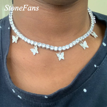 Stonefans Silver Butterfly Pendant Necklace Rhinestone Jewelry for Women Bling Crystal Choker Statment Necklace Collar Chain