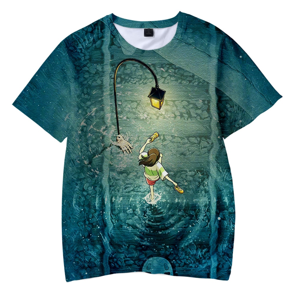 Miyazaki Hayao Spirited Away Anime movie ogino chihiro 3D Children's wear Boy/girl kids Casual t shirt Short Sleeve Clothes image