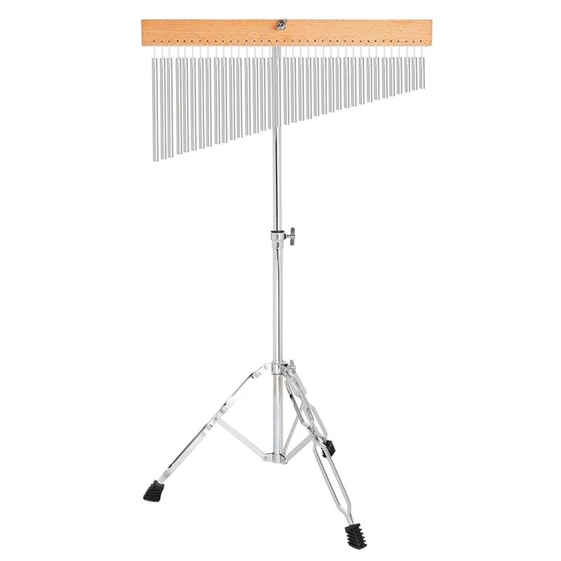 Muzikale Bel 36 Tone Wind Chime Silver Bars Single Rij Wind Chime Muzikale Percussie Instrument Met Statief En striker