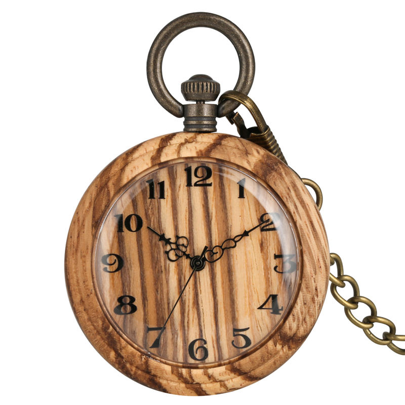 Classic Wooden Pocket Watch Female Large Wood Dial Men Pendant Watches Practical Necklace Rough Chain Gift Relogio De Bolso