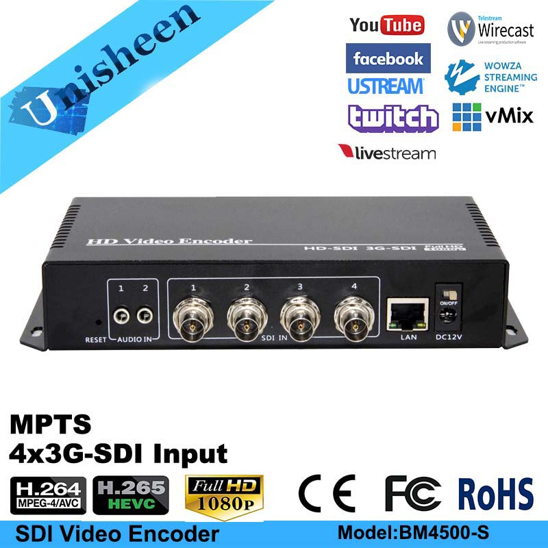 Unisheen H.265 HEVC MPEG-4 AVC/H.264 4in1 SDI Video Encoder SDI Transmitter Live Streaming Youtubve Facebook Broadcast Onvif