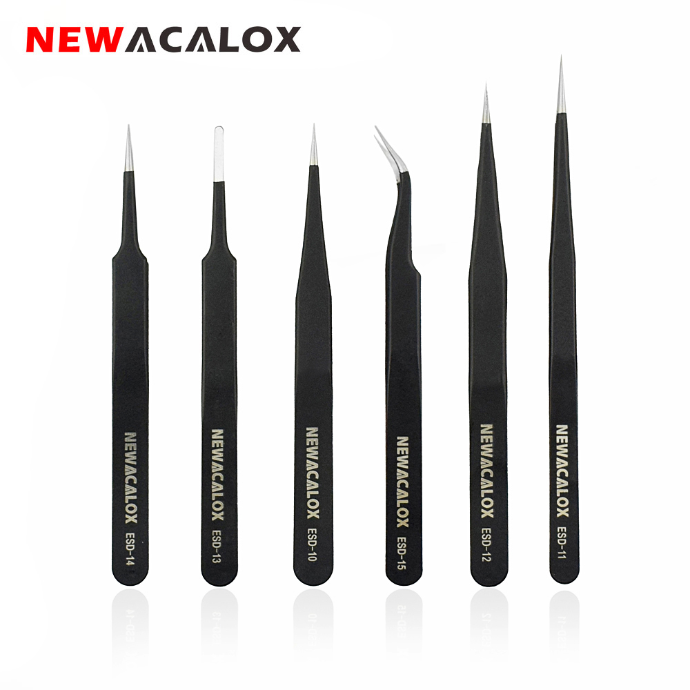 NEWACALOX 6PC ESD/FTS Precision Industrial Tweezers Set Anti-Static Anti-magnetic For Electronics Phone Soldering Repair Tool