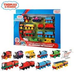 10/pociągi oryginalny Thomas i przyjaciele Trackmaster 10 sztuk Diecast zestaw pociągów z tworzywa sztucznego i stopu zabawki dla dzieci kolekcja dla dzieci prezenty