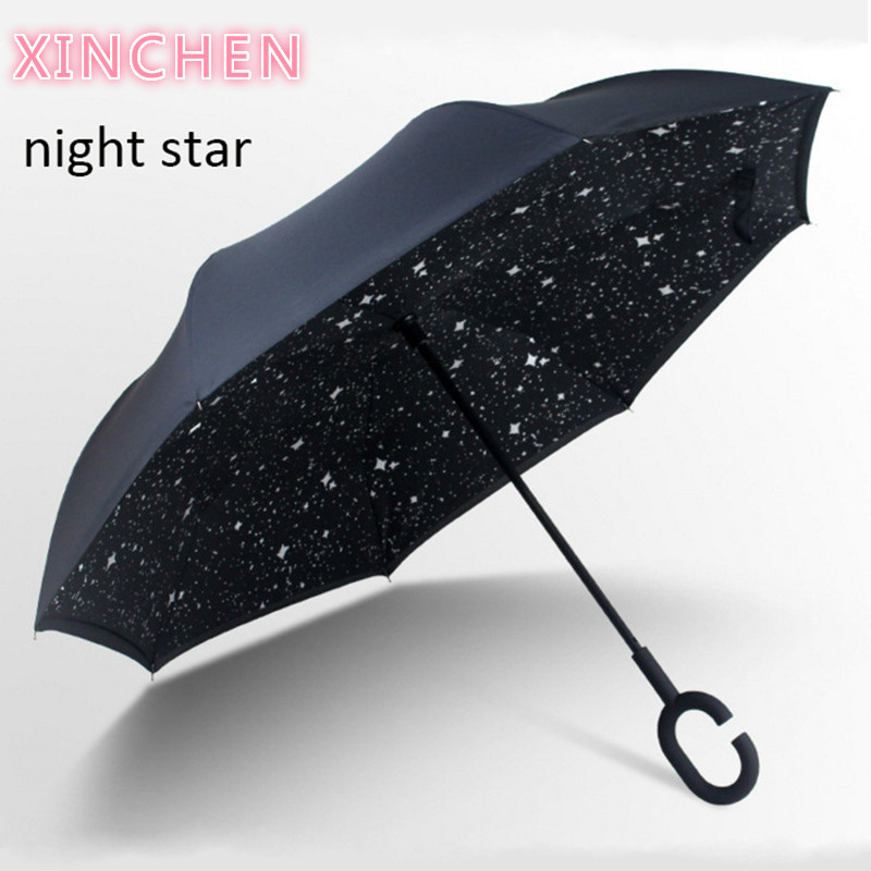 Reverse Umbrella Folding Double Layer Inverted Windproof Flower Pattern C Handle Waterproof Car Umbrellas For Women Rain Gear